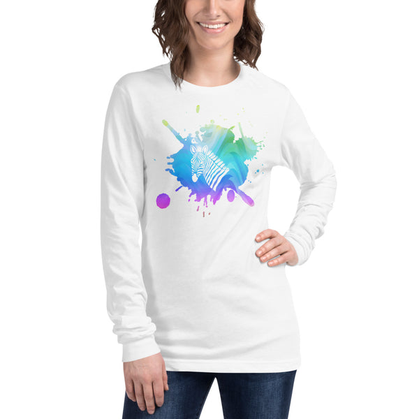 Zebra Splatter Twist Unisex Long Sleeve Tee
