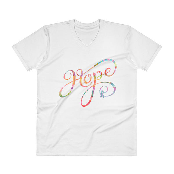Hope Painted Ribbon Print V-Neck T-Shirt