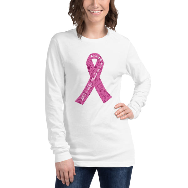 Christmas Cure Ribbon/Pink Unisex Long Sleeve Tee