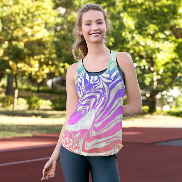Fierce Zebra Two Sided All Over Print Women's Racerback Tank