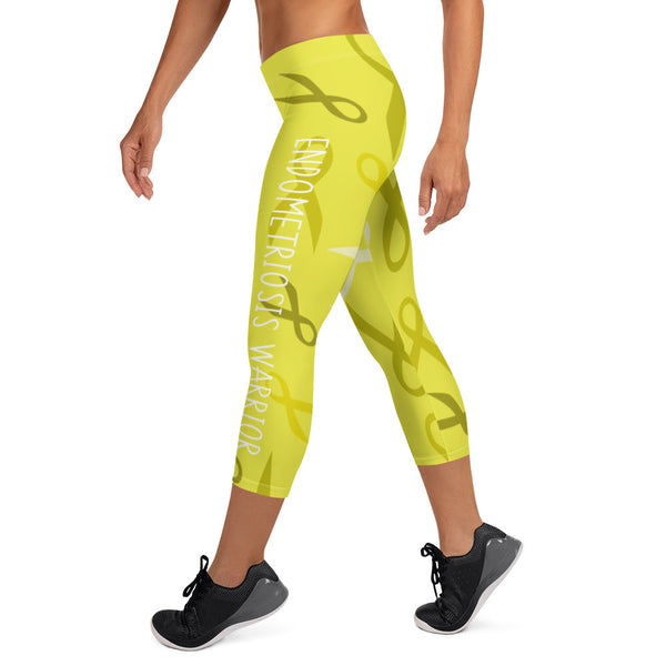 Endometriosis Warrior Ribbon Capri Leggings