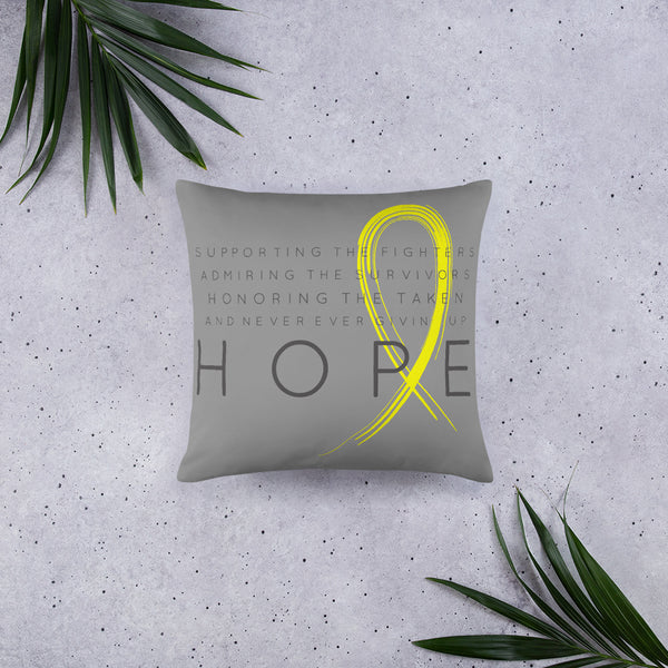 Two Sided Chronic Illness Hope/Yellow Basic Pillow