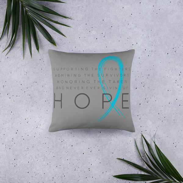 Two Sided Chronic Illness Hope/Blue Basic Pillow