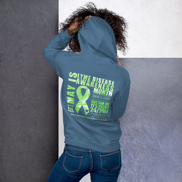 May Lyme Disease Awareness Month/WARRIOR Marble Print Unisex Hoodie