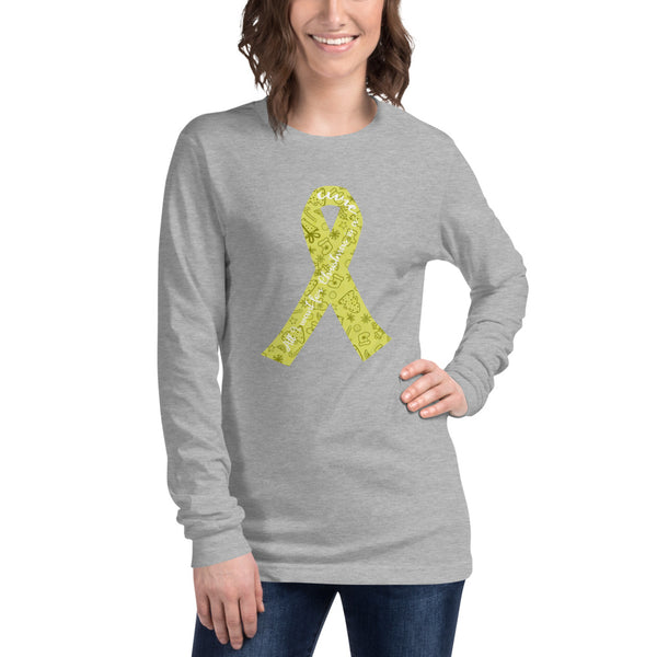 Christmas Cure Ribbon/Yellow Unisex Long Sleeve Tee