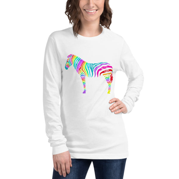 Rainbow Zebra Words Unisex Long Sleeve Tee