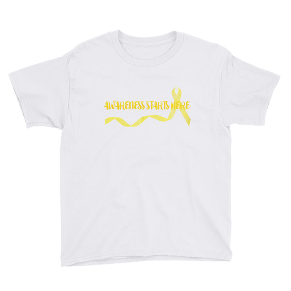 Awareness Starts Here/Yellow Youth Short Sleeve T-Shirt