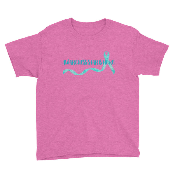 Awareness Starts Here/Turquoise Youth Short Sleeve T-Shirt