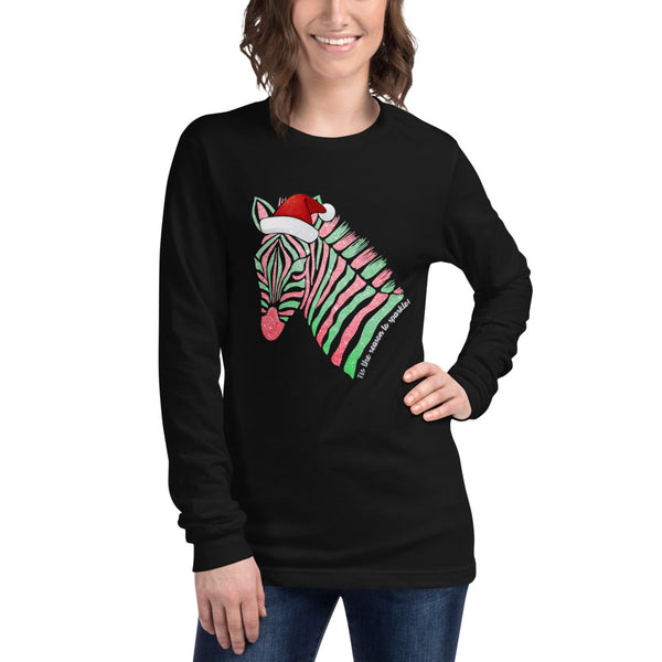 Tis The Season To Sparkle Zebra Unisex Long Sleeve Tee