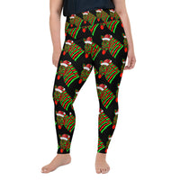 Santa Zebra All-Over Print Plus Size Leggings