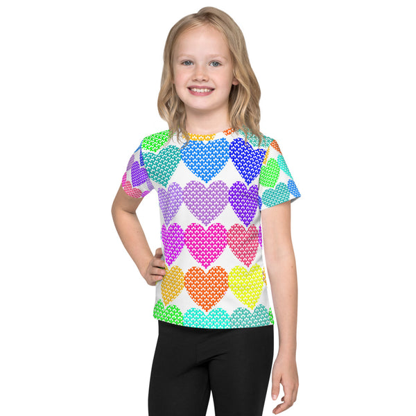 Awareness Ribbon Hearts All Over Print Kids T-Shirt