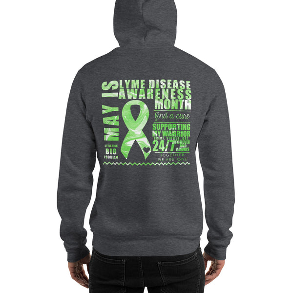 May Lyme Disease Awareness Month/SUPPORTER Marble Print Unisex Hoodie