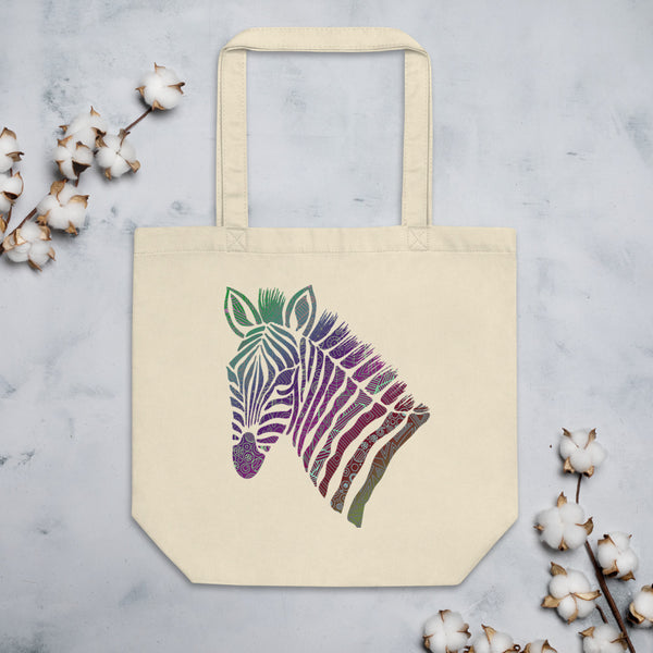 Zebra Head Zentangle Eco Tote Bag