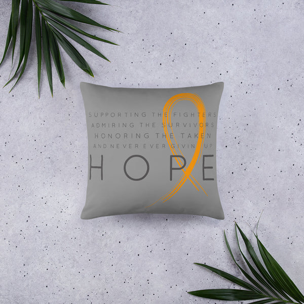 Two Sided Chronic Illness Hope/Orange Basic Pillow