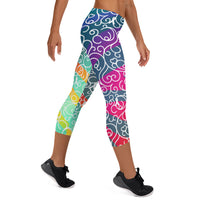 Whimsical Ribbon Stripes Capri Leggings