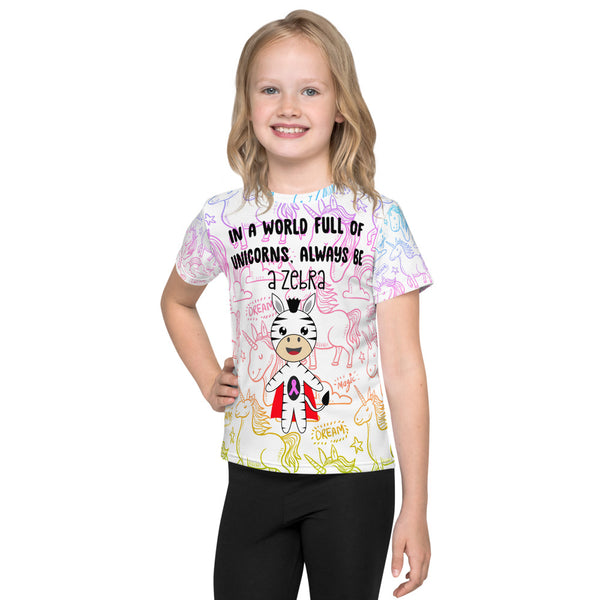 In A World Of Unicorns Be A Zebra/Pink Ribbon All Over Print Kids T-Shirt