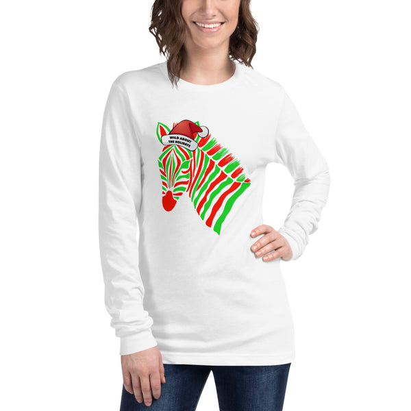 Wild About The Holidays Zebra Unisex Long Sleeve Tee