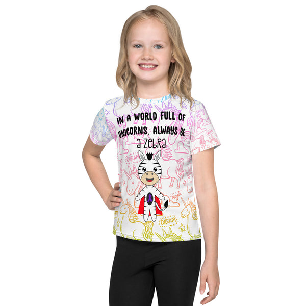 In A World Of Unicorns Be A Zebra/Purple Ribbon All Over Print Kids T-Shirt