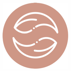 Icon of two equally sized shapes fitting into one circle