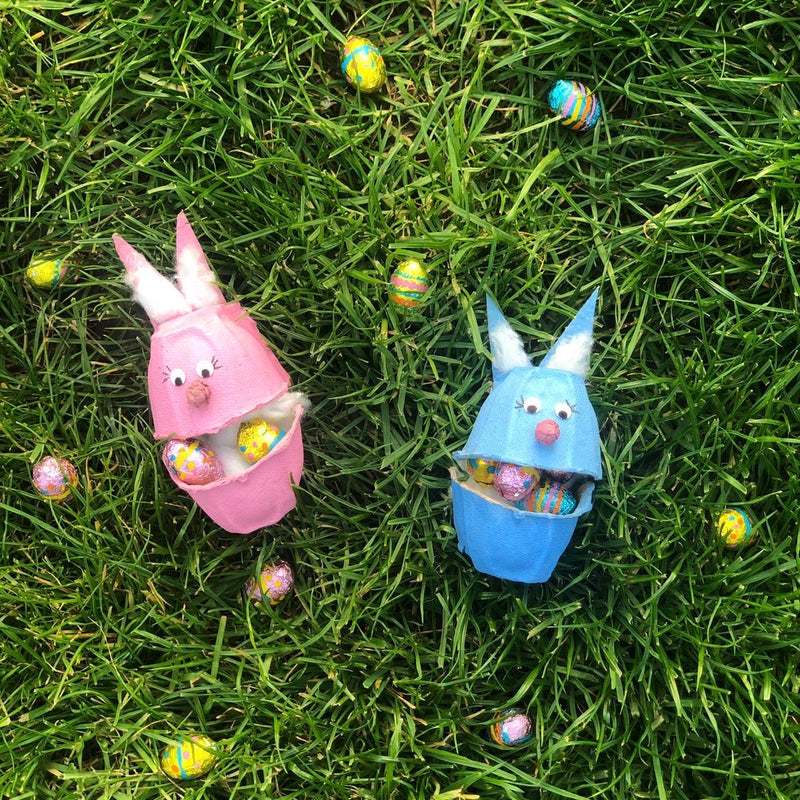 How to make Easter egg box bunnies