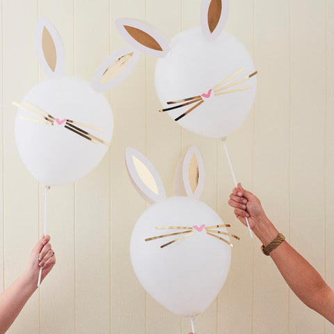 A collection of rabbit-themed balloons