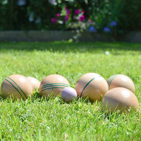 Party Pieces wooden boules set on a green grass lawn