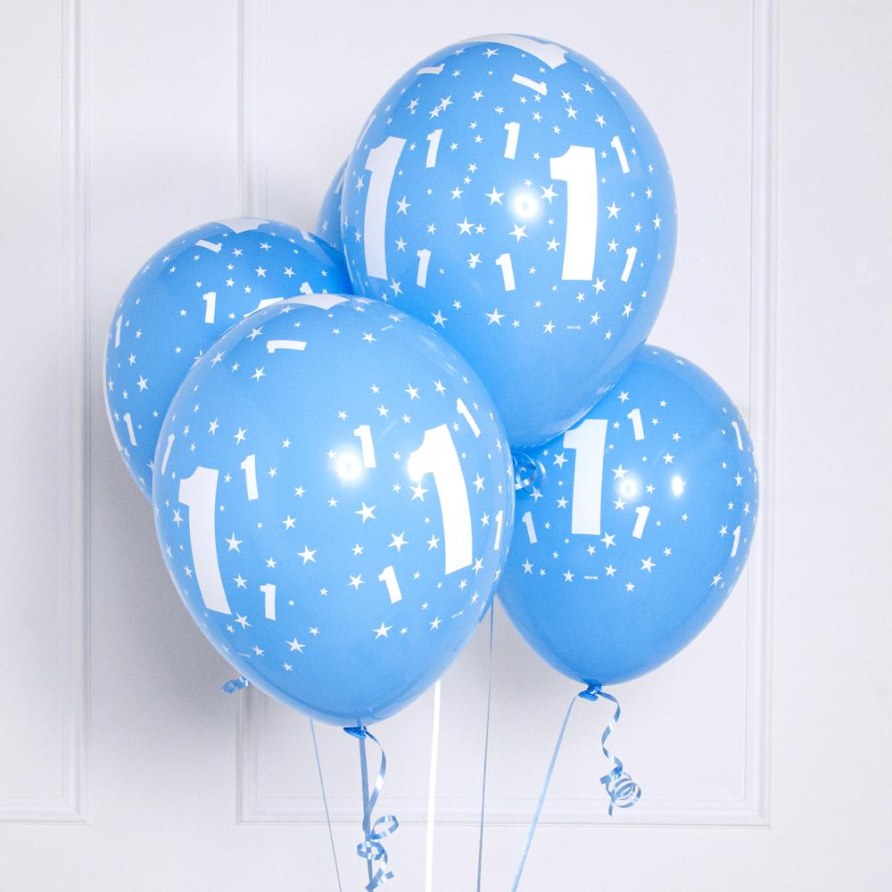 "A bunch of blue latex balloons with a number ""1"" print for a 1st birthday"