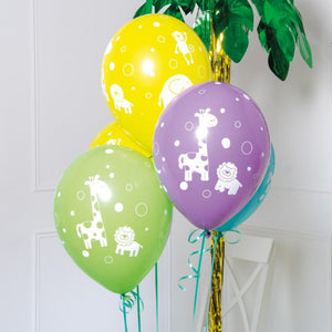 a bunch of colourful latex party balloons with jungle animal prints