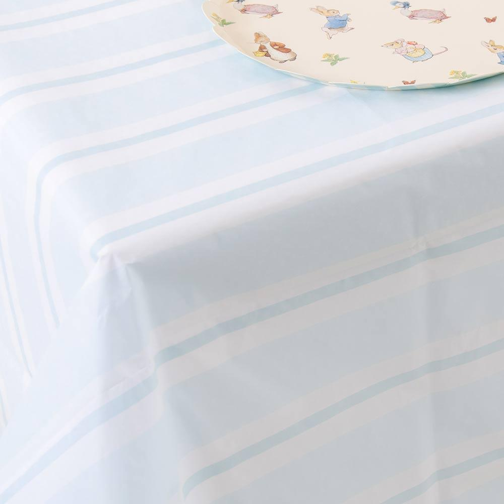 Pastel Blue Striped Table Cover