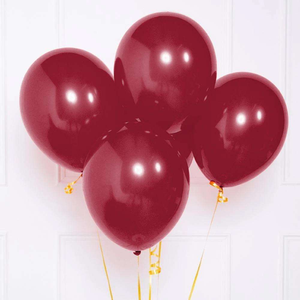 Latex Party Balloons Metallic Dark Red (x8)