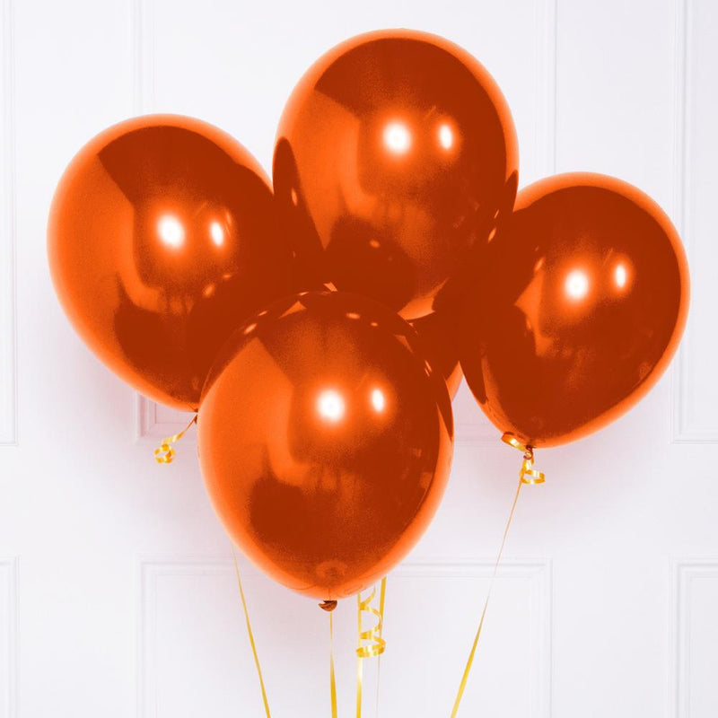 A bunch of metallic copper latex balloons