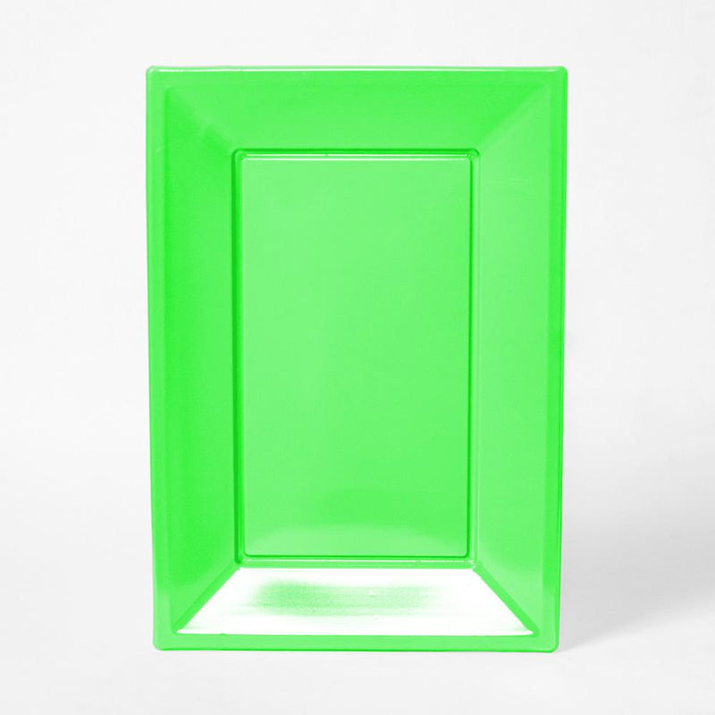 A bright green, rectangular plastic serving tray for party food