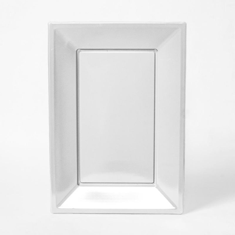A white rectangular plastic serving tray for party food