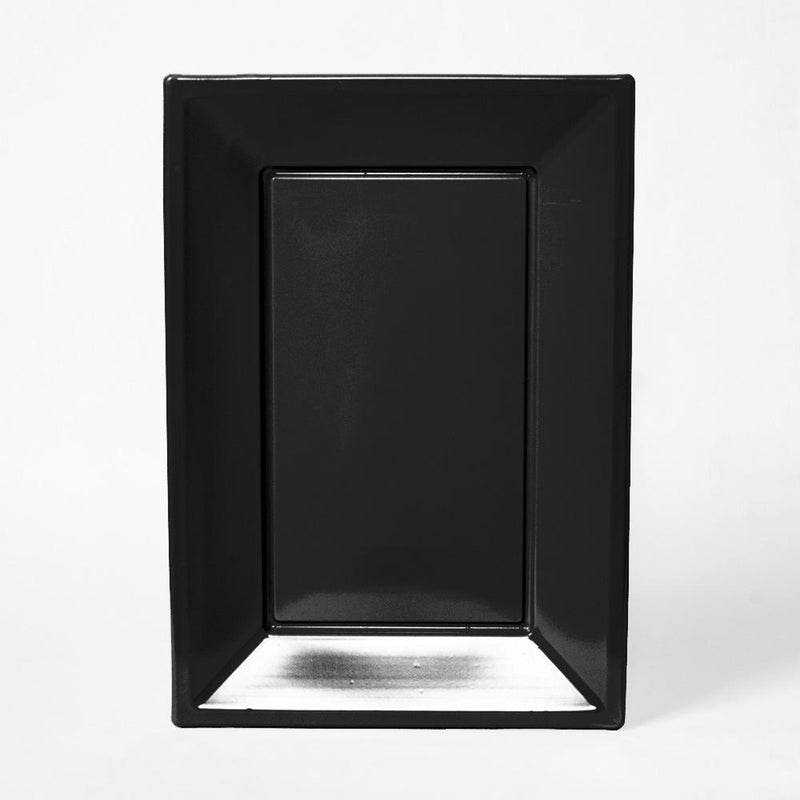 A black, rectangular plastic serving tray for party food