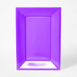 A purple rectangular plastic serving tray for party food