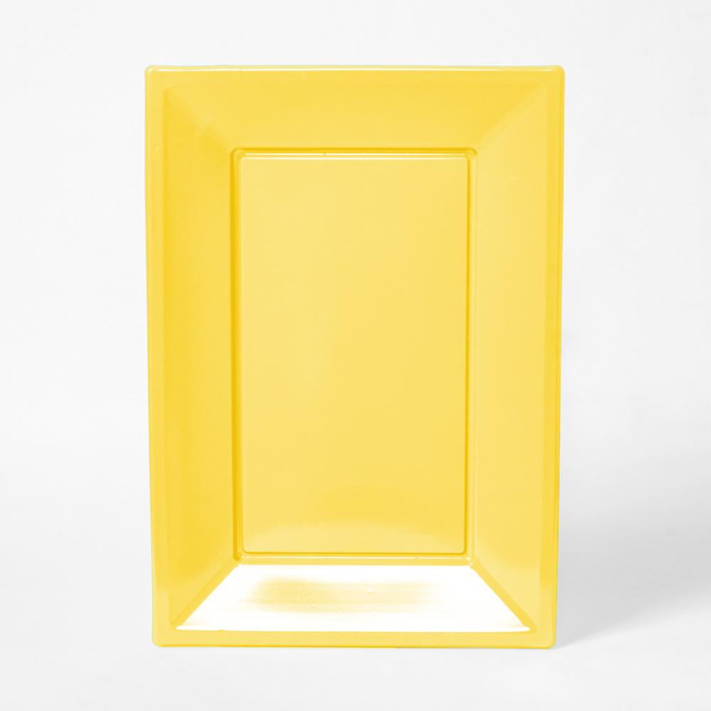 A yellow rectangular plastic serving tray for party food