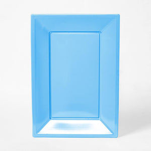 A pale blue rectangular plastic serving tray for party food