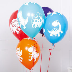 A bunch of colourful latex party balloons with white dinosaur prints on each