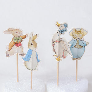 A collection of 4 Peter Rabbit-themed party picks