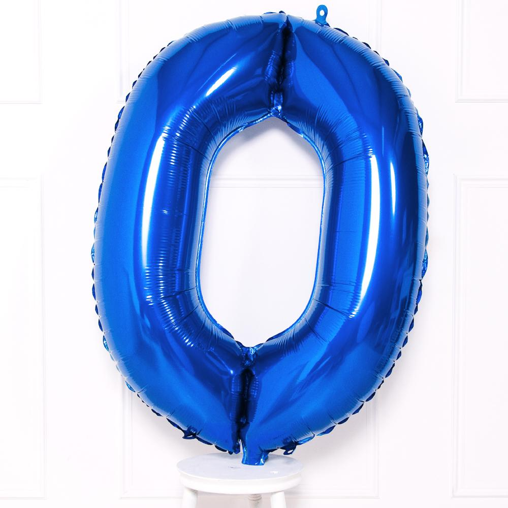 Supershape Blue Helium Balloon Number 0
