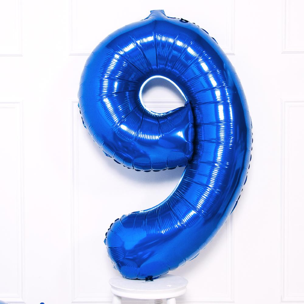Supershape Blue Helium Balloon Number 9