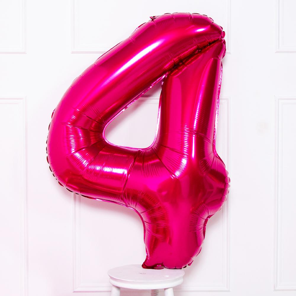 Supershape Pink Helium Balloon Number 4