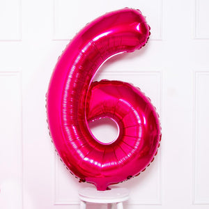 Supershape Pink Helium Balloon Number 6