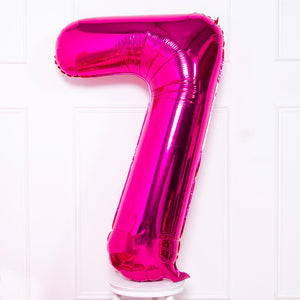 Supershape Pink Helium Balloon Number 7