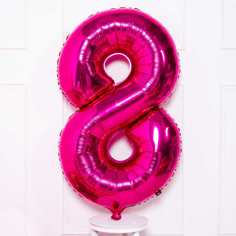 Supershape Pink Helium Balloon Number 8