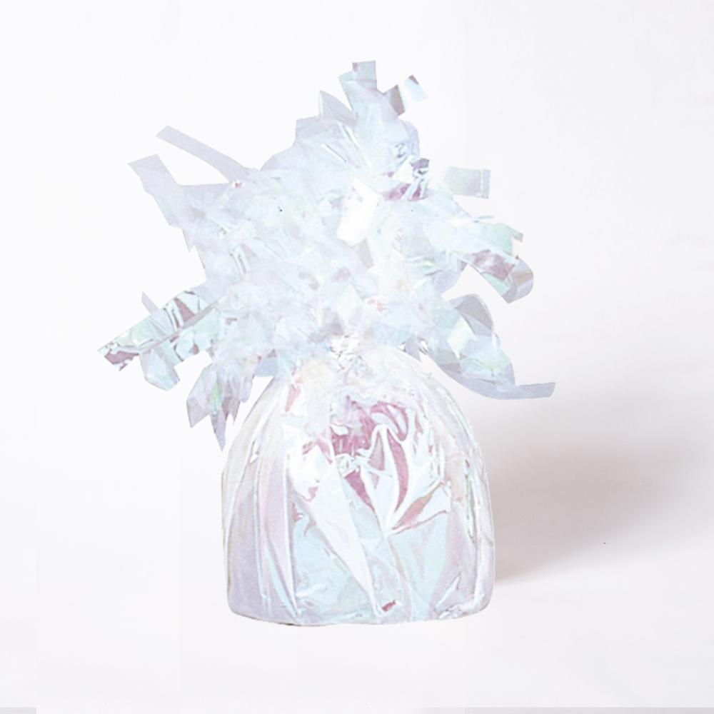 A iridescent foil balloon weight with fluttery tassels on top