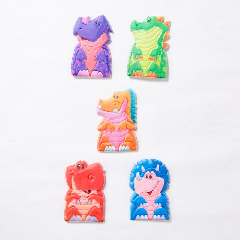 5 cute dinosaur finger puppets laid out on a table