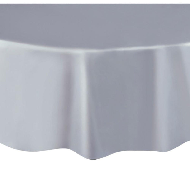 Round Plastic Party Table Cover Silver