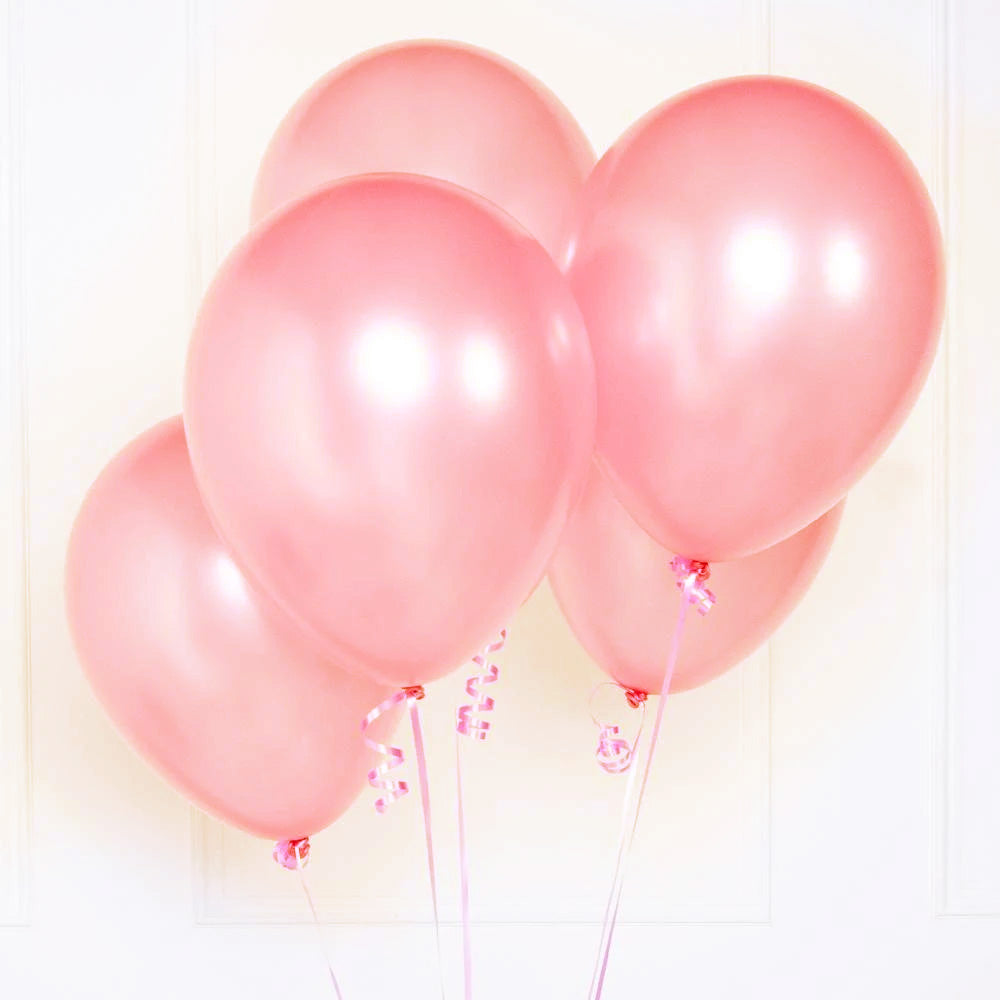 Metallic Latex Party Balloons Pink (x10)