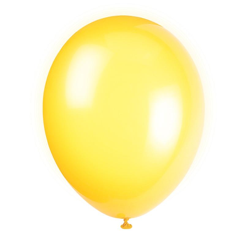 Latex Party Balloons Yellow (x10)